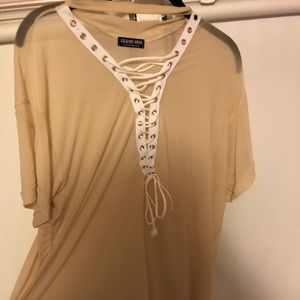 Sheer nude lace up top